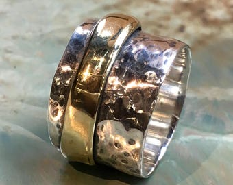 Rustic silver band, Unisex band, two tone ring, wide thumb ring, mens meditation ring, wide band, brass spinner ring - Your edges R2520