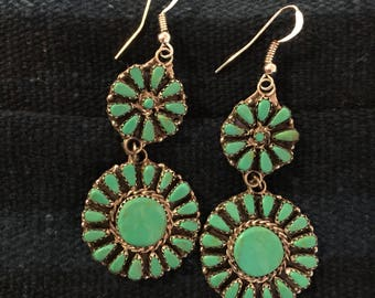 Navajo turquoise earrings drop circles with turquoise clusters set in sterling silver that dangle down from sterling wires gift handmade