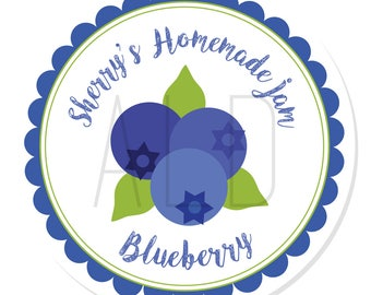 Personalized Stickers -- Blueberry Jam -- Personalized Jam Labels, Personalized Preserve Labels, Custom Jarring Labels