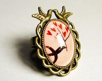 Birds, bird BAO003B hearts ring
