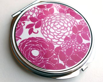 Pocket mirror, pink hydrangeas MPR127