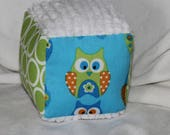 Small Blue and Green Owls and Chenille Fabric Block Rattle Toy