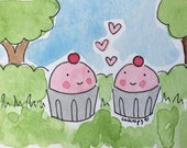 Final Sale original CakeSpy Mini Watercolor: Cuppie Love with trees