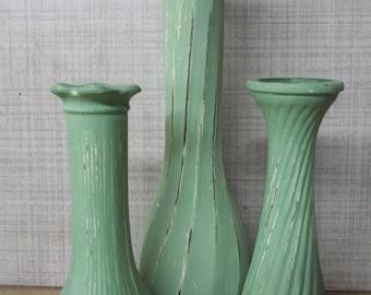 Shabby Chic Painted Vase Set of 3 Green Vases ~ Upcycled Vase ~ Chalk Paint Vase