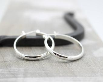 Sterling Silver Click Latch Hoop Earrings