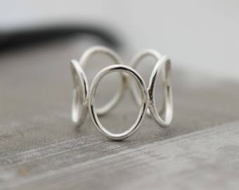 Sterling Silver Open Circle Ring Band - Bubble Ring - Midi Ring