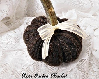 Small Brown with Copper Threads Sweater Pumpkin,Real Stem, Removable Ribbon, Hand Sewn Fall Farmhouse Decor, ECS