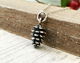 Pinecone Necklace - sterling silver charm jewelry - woodland jewelry - nature jewelry - for hiker or outdoor enthusiast