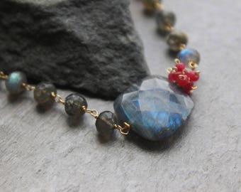 Gold Labradorite Choker with Ruby Accent Necklace, Healing Gemstones, 14K gold filled