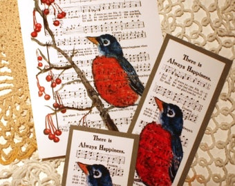 ROBIN Art Print + bookmark + tag /There Is Always Happiness /Religious Spiritual Song 4x6, 5x7, 8x10 collection  FREE  Ship #robin #wildbird