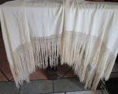 """Piano Scarf  10"""" Silk Fringe Shawl Vintage 1920s 30s Ivory Wrap Bridal"""