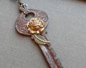 75% Off Sale-Steampunk Vintage Key Necklace, Rose Garden