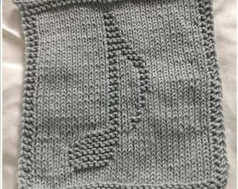 PATTERN - dishcloth / washcloth knitting pattern - Musical note