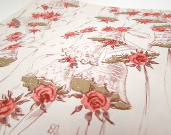 Vintage Gift Wrap - Vintage Wrapping Paper - Wedding Bells - Roses - Marriage - Mid Century