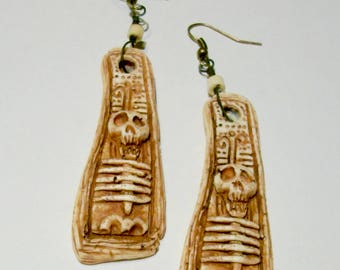 Tribal, Skeleton Sculpture, Voodoo,  Zombie Head Earrings