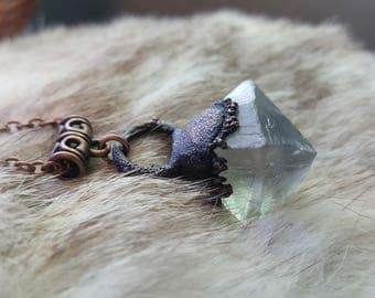 Fluorite Octahedron Electroformed Copper Necklace | Aged Copper Patina | Electroplated Gemstone Jewelry | Crystal of Mental Clarity