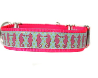 Wide 1 1/2 inch Adjustable Buckle or Martingale Dog Collar in Seahorses