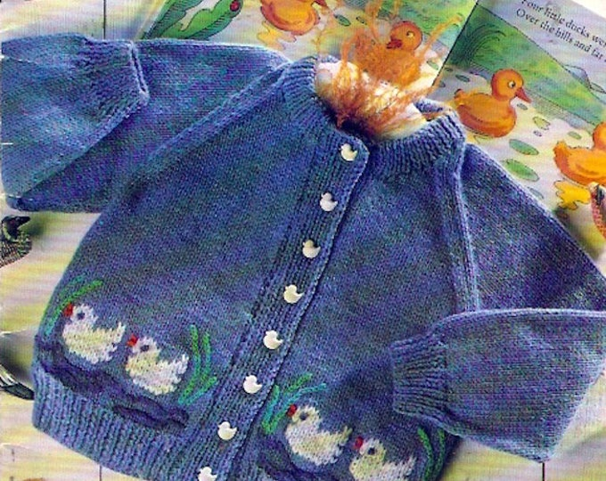 Childrens Sweater Fairytale Knitting Patterns booklet Patons 2000 Kids Easter Cardigans Ducks Flowers Apples