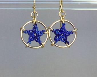 Stars, blue silk earrings, 14K gold-filled
