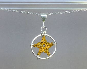 Stars, ochre silk necklace, sterling silver