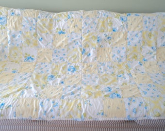 """Previously Loved ~Love Vanilla Rose~ Quilted Throw 65"""" x 44"""" Blue White Yellow"""