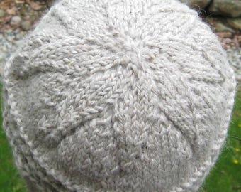 gray alpaca silk ribbed hat, hand knit, hand spun