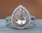 Morganite Engagement Ring - Reserved for Jaimee - Pear Morganite Ring with Pink Sapphire and Diamond Double Halo - LS4502