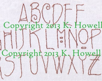 Alphabet Hand Embroidery Pattern, Craftsman, Font, Letters, Revisited, Alphabet, Arts, Crafts, Uppercase, PDF