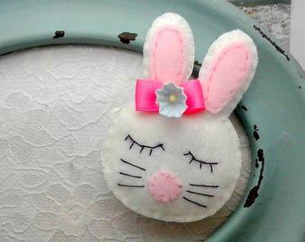Hair clips White Rabbit hair clip or hair tie, handmade felt Rabbit barrette, Bunny rabbit felt pigtails singles and pairs