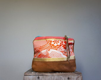 NEW///70's Kimono and Leaher Pouch//Reversible