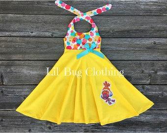 DJ Suki Troll Personalized Dress,  J  Troll Birthday Party Dress, DJ Suki Troll Birthday Party Outfit, Summer Girl Poppy Troll Dress
