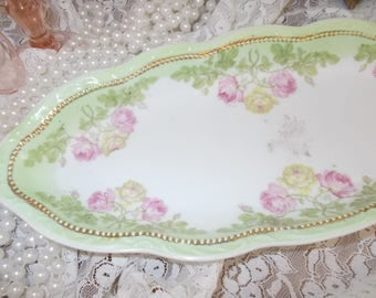 Victorian Celery dish Pink Yellow cabbage roses Triple Crown