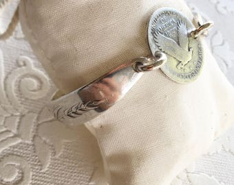 Liberty Quarter Wheat Spoon Handle Bracelet with Magnetic Clasp