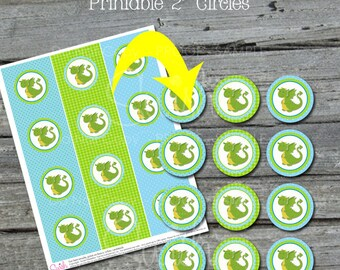 Baby Dragon Cupcake Toppers | Dragon themed party circles | green teal aqua blue | 1st Birthday Party | Instant Download