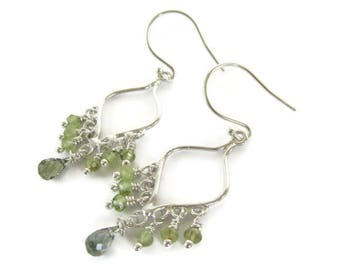Peridot Tourmaline Earrings, Green Peridot Earrings. Green Tourmaline Earrings, Green Silver Earrings, Peridot Earrings, August Birthstone