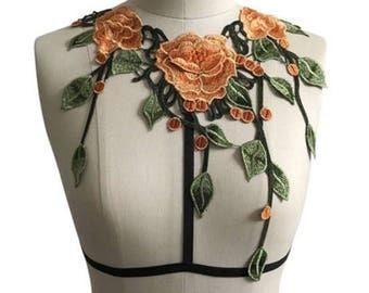 Orange floral chest harness
