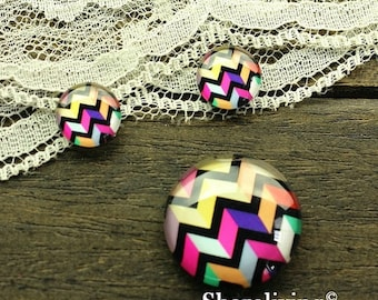 SALE - 30% OFF Rainbow Chevron Glass Cabochons, 8mm 10mm 12mm 14mm 16mm 18mm 20mm 25mm 30mm  Photo Glass Domes - RCH001U