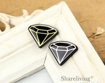 2pcs Handmade Diamond Gold / Silver Foil Mosaic Black Resin Charm / Necklace  - WTG131
