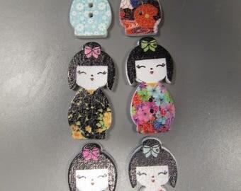 Geisha Harajuku Wooden Buttons X 2