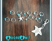 Learn To Surf Ring Stitch Markers, notions, stitchmarkers, Progress Keeper, Clip on Charm, Zipper Pull, knitting gift, planner charm,