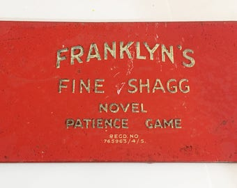1930 Franklyns Fine Shagg Patience Puzzle Game   Rare to find in the US Franklyn's Fine Shagg - Advertising Tin Plate Patience Game