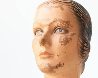 Vintage Mannequin Head, Store Display Piece, Woman's Mannequin Head