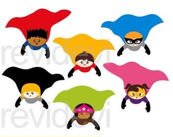 35% OFF SALE Superhero flying cape clipart - cute flying superhero clipart - instant download clip art