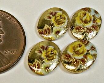 Vintage Japanese TENSHA PORCELAIN Limoge GOLD Oval Cabochon 10x8 mm pkg4 por201B
