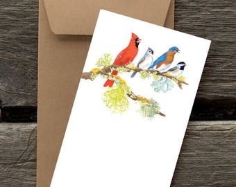 Four Calling Birds -- 8 Blank flat cards and envelopes