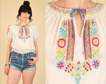 ViNtAgE 20s 30s Hungarian Hand EMBROIDERED Blouse // Artisan Made Floral Sheer Cotton Top // PENNY Lane // Hippie Boho Medium Large M / L