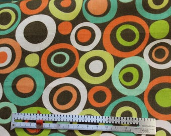 Circles print on brown 100% cotton fabric matches Giraffe jungle print panel