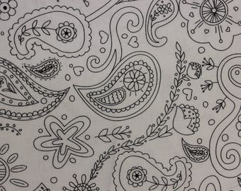 Color me Princess Paisley flower butterfly  swirl crown heart  100% cotton fabric by hayley crouse of mouse house for Michael Miller