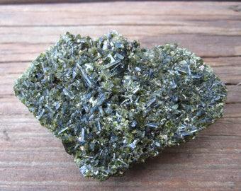 Drusy Epidote Specimen - covered in druzy - rare Peruvian mineral