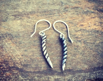 Horn Drop Earrings Sterling Silver Free Domestic Shipping